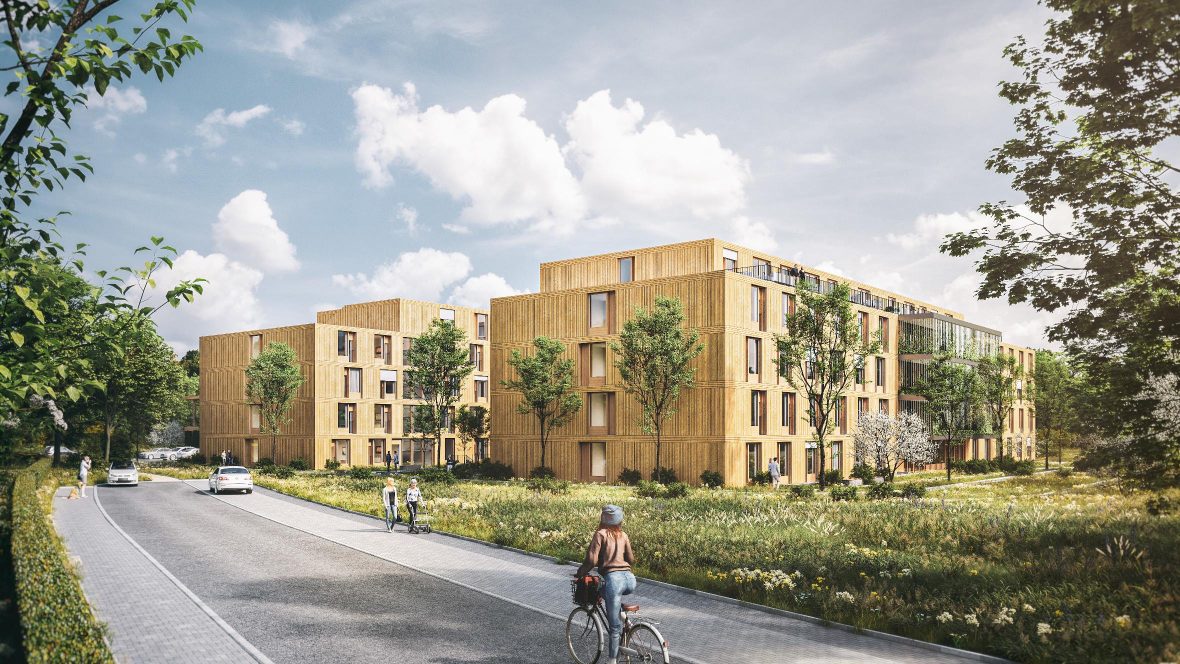 Nordansicht des geplanten Seniorenwohn- und Pflegeheim in Allach