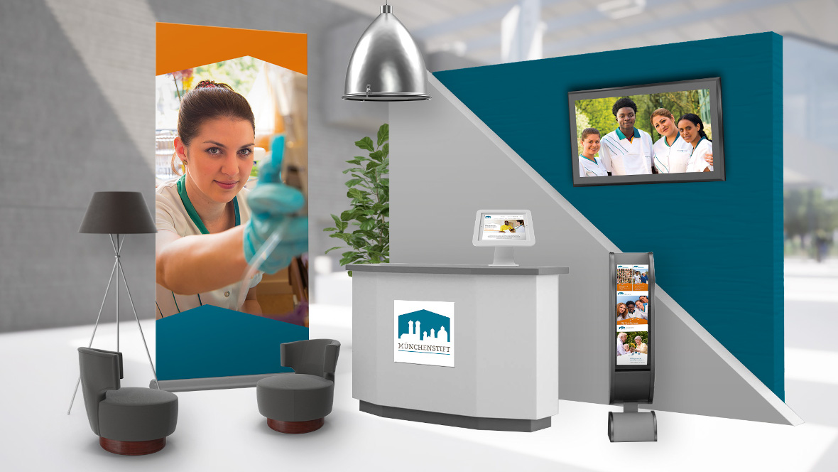Digitaler Messestand der Münchenstift bei der virtuellen Job- und Ausbildungsmesse 2021